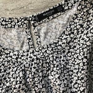 Mango floral Black & White dress